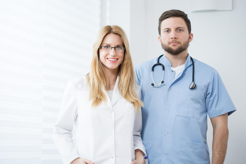 Two young doctors stock photo