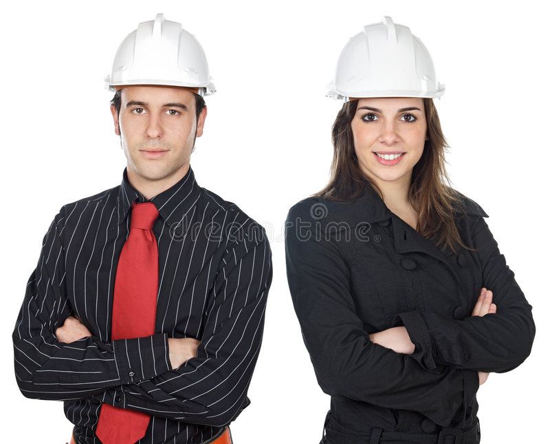 Two young engineers stock photos