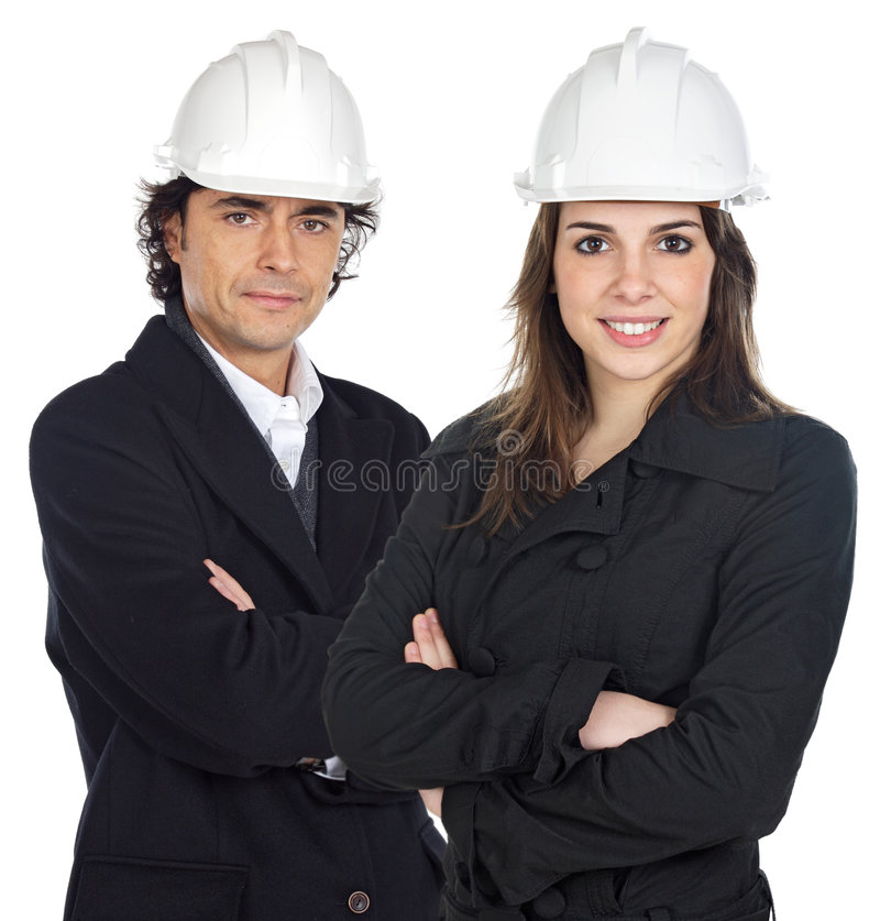 Two young engineers royalty free stock images
