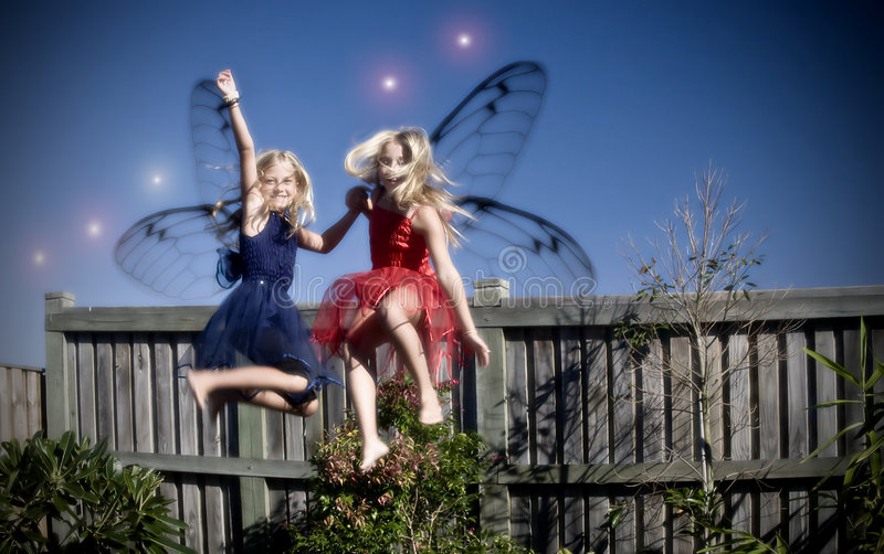 Two young fairies royalty free stock photo