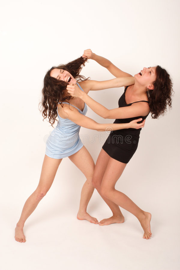 Two young fighting women 1 stock photo