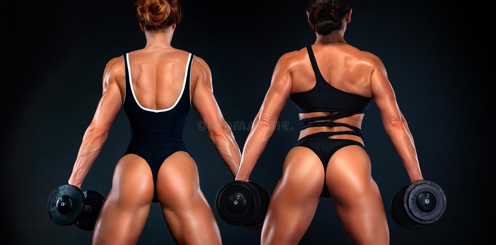 Two young fit and sporty woman athletes, bodybuilders with dumbell. Individual sports. Sports recreation. Attractive young fitness women holding dumbell. Studio stock photography