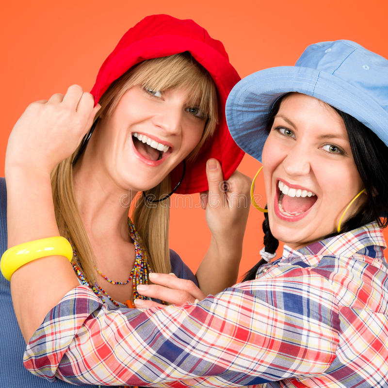 Download Two Young Friends Woman Funny Outfit Stock Image - Image: 23722525