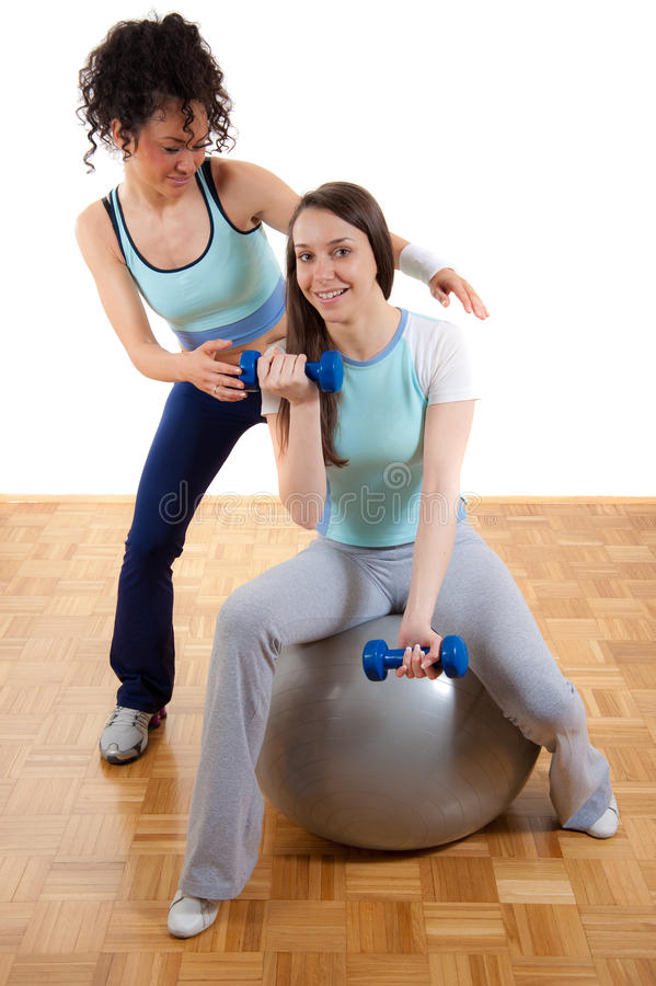 Download Two Young Girls, Exercising Together With Weights Stock Image - Image of curly, aerobics: 19098821