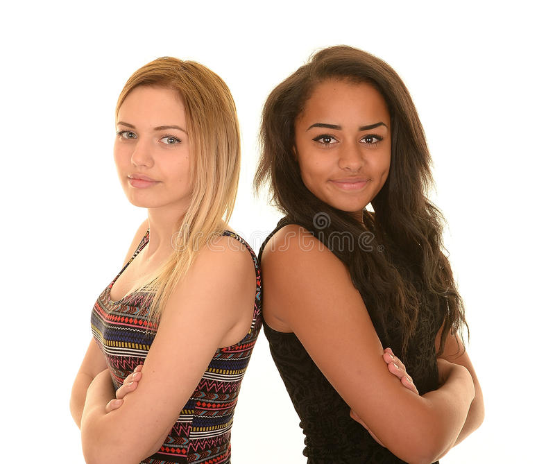 Two young girls royalty free stock photos