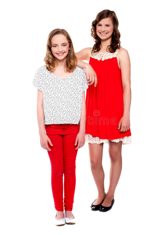 Download Two Young Girls Posing. Full Length Shot Royalty Free Stock Images - Image: 25622049