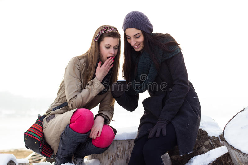 Two Young Girls Reading Text Message Royalty Free Stock Image