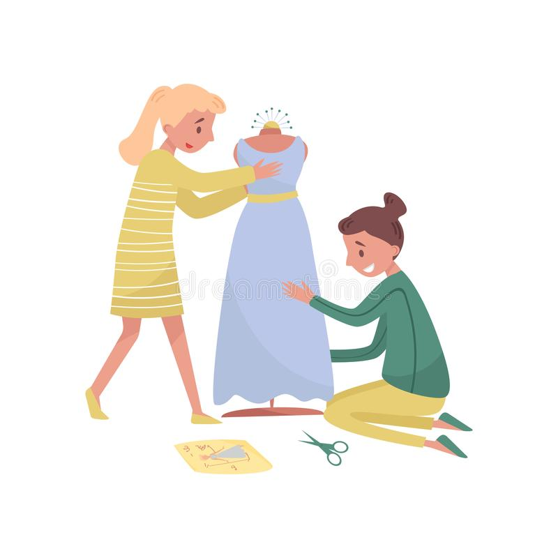 Two young girls sews dress. Profession of fashion designer. Female dressmakers at work. Flat vector illustration. Two young girls sews dress. Profession of royalty free illustration