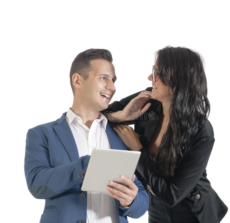 Download Two Young Handsome Business People Working With Digital Tablet Stock Image - Image: 42261149