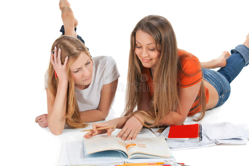 Two young happy student girl stock photos