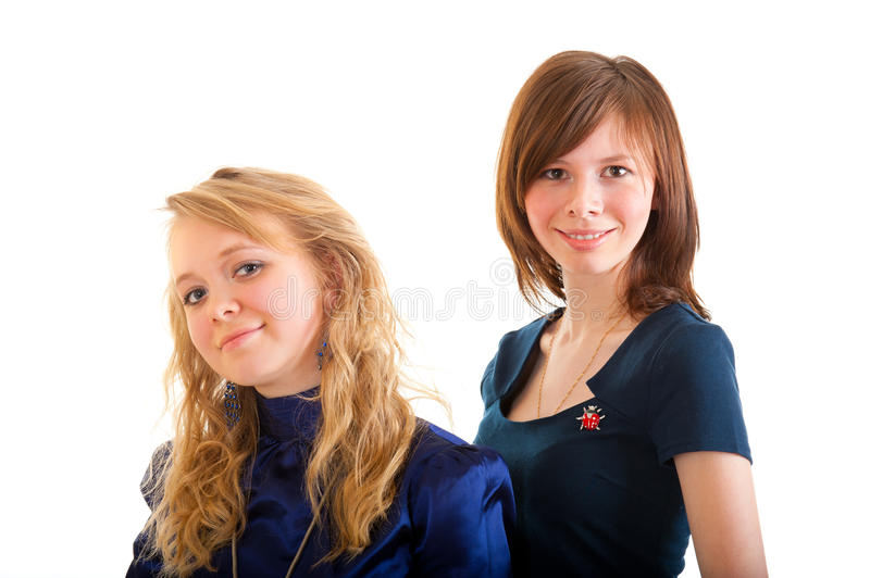 Two young happy woman. stock photo