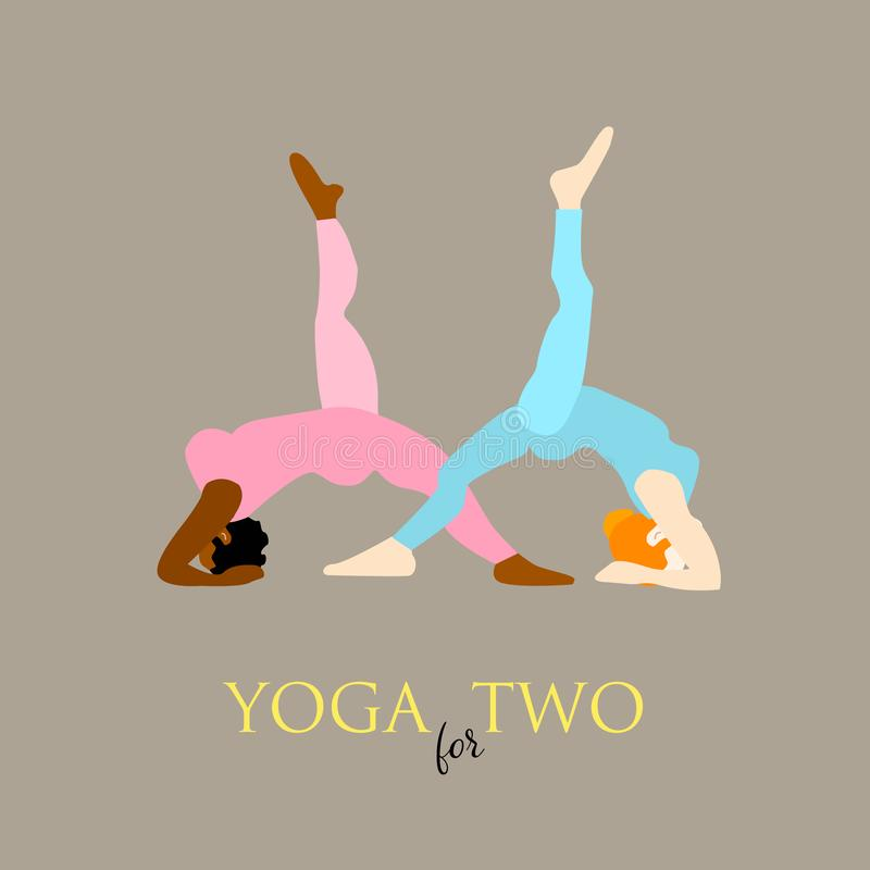 Two young happy woman in Yoga pose on grey background royalty free illustration