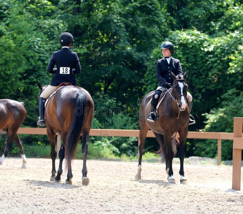 Two Young Horse Riders Chat At The Germantown Charity Horse Show royalty free stock photos