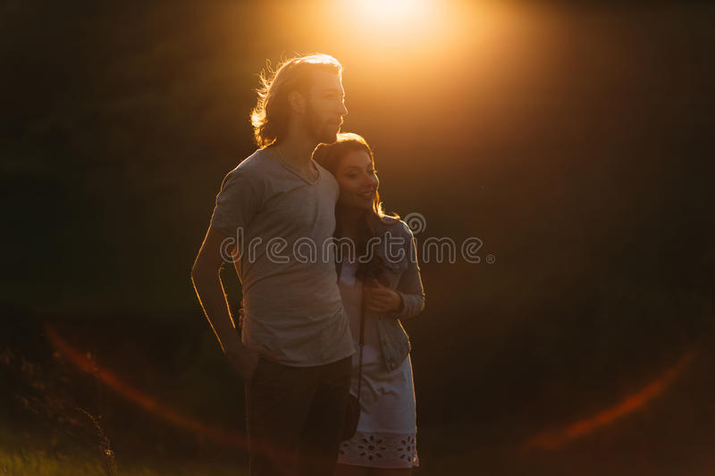 Two young lovers stock photos