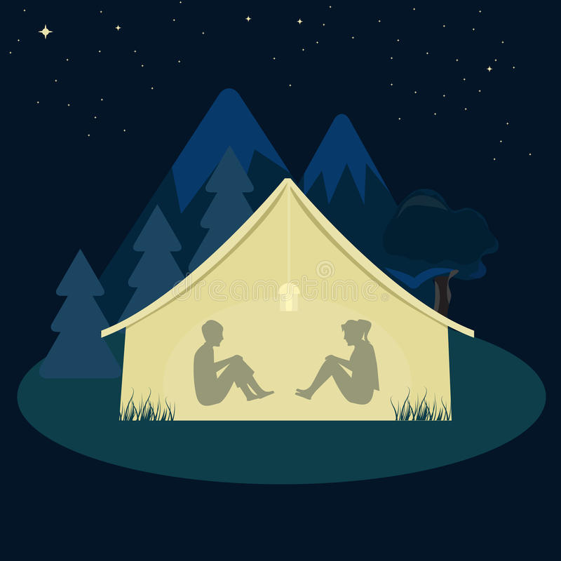 Download Two Young Man And Woman Camping In Tent At Night Stock Vector