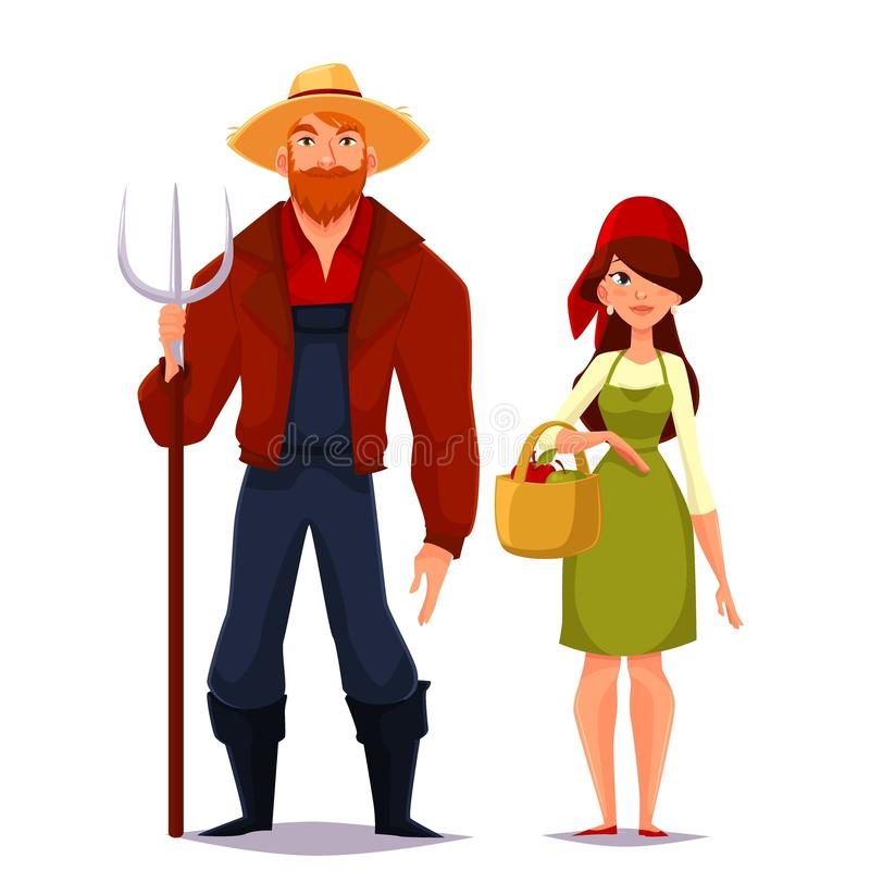 Two young man and woman farmer. Farmer couple of spouses, vector cartoon on a white background illustration of a man wearing a straw hat and a pitchfork, red royalty free illustration