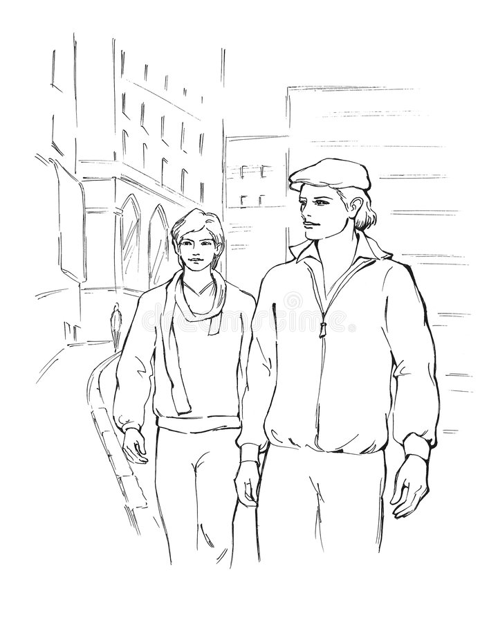 Two young men. Walking the street stock illustration