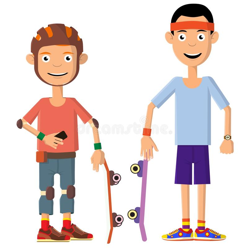 Two young men decided to ride skateboards. Sports lifestyle. Vector illustration stock illustration