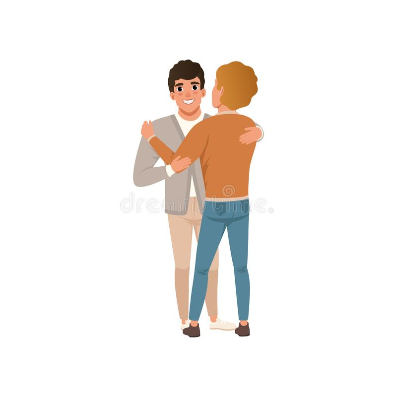 Two young men embracing rejoice at the meeting vector Illustration. Isolated on a white background vector illustration