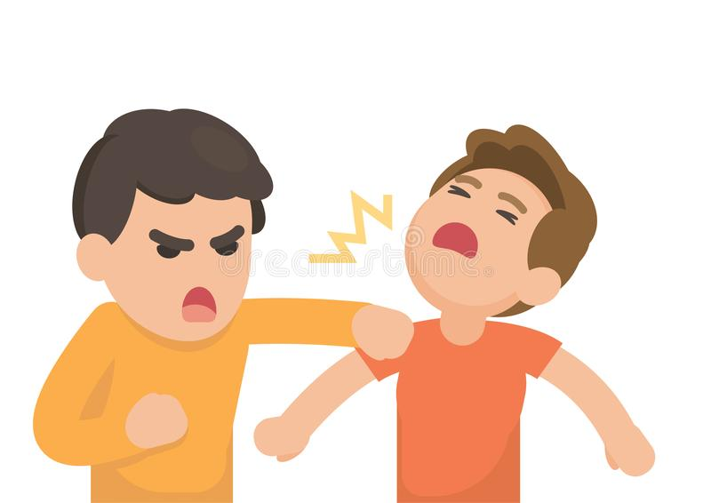 Two young men fighting angry and shouting at each other, Vector. Cartoon illustration royalty free illustration