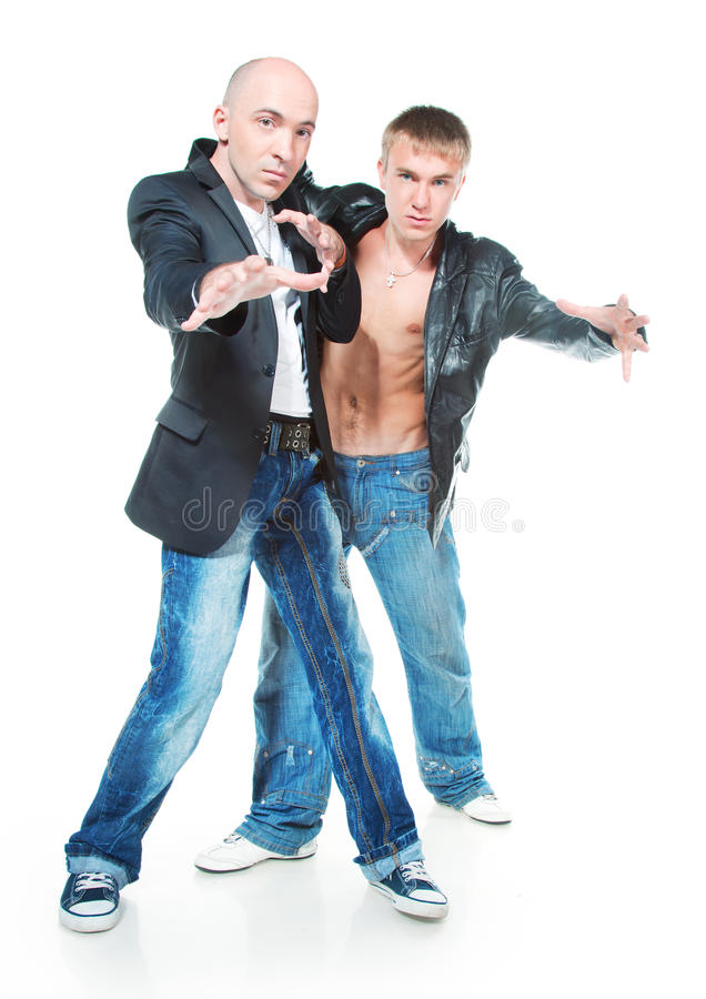 Two young men in jeans royalty free stock images