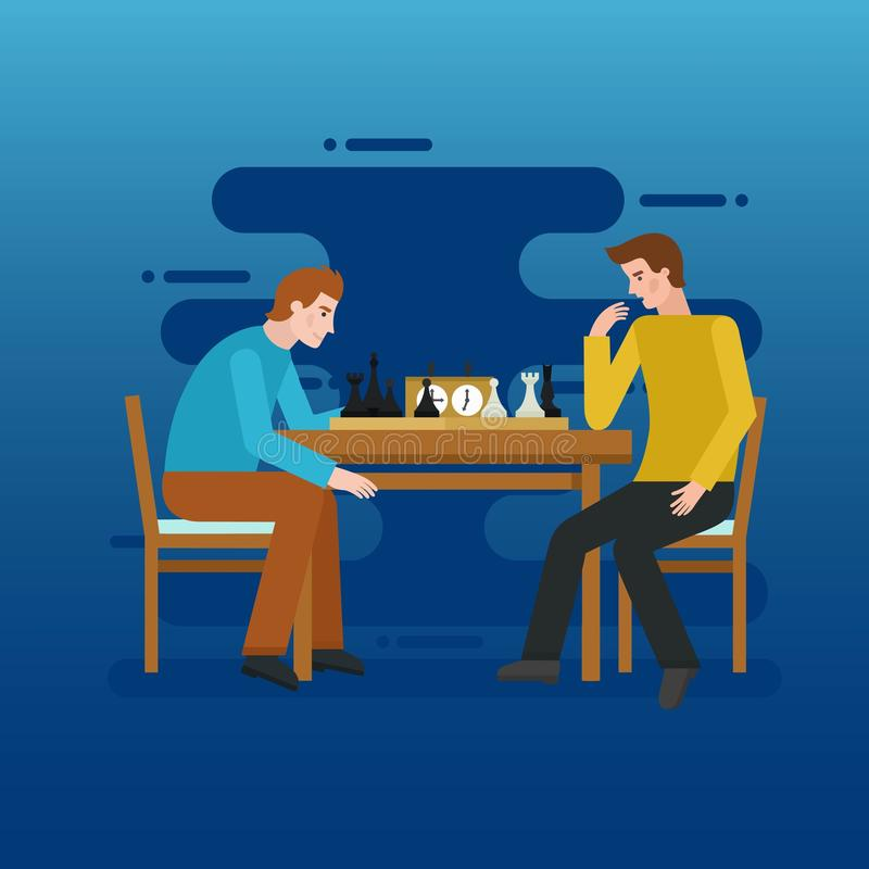 Two young men playing chess - flat vector illustration for banners, apps and web. stock illustration
