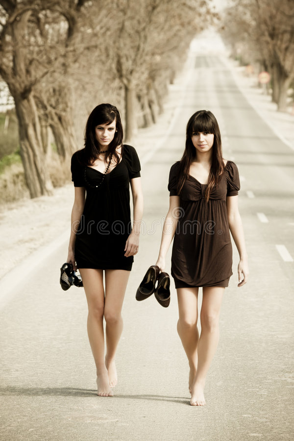 Two young models stock photography