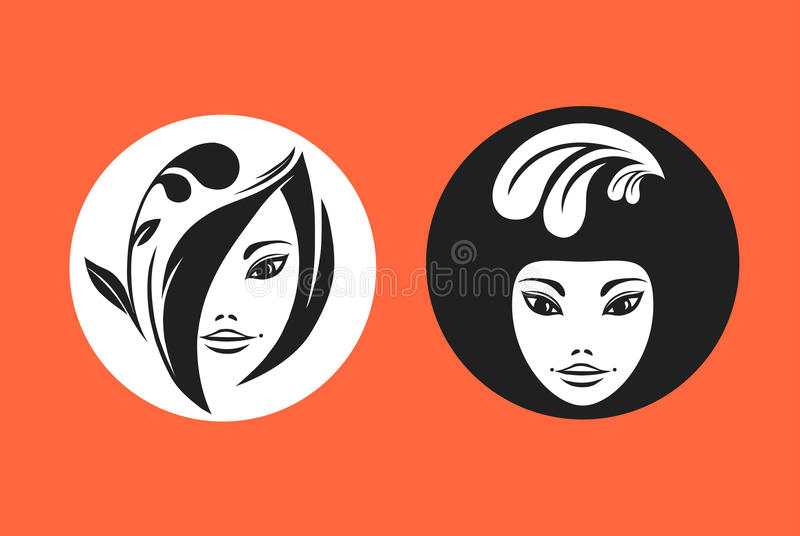 Download Two young models portraits stock vector. Image of illustration - 12174351