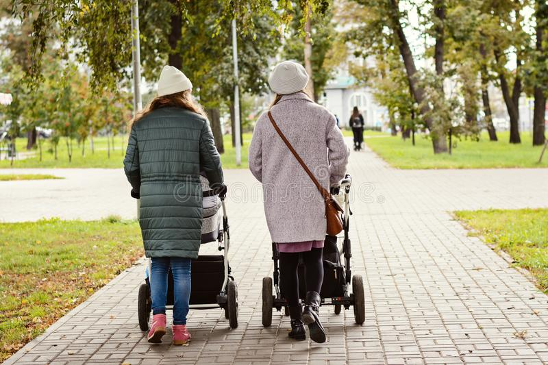 Two young moms girlfriends are walking with young children in strollers for an autumn Park. Women on a walk with the kids, the vie. W from the back royalty free stock photography