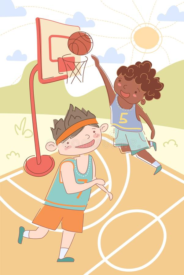 Two young multiethnic boys playing basketball with vector illustration