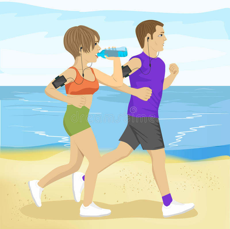 Two young people jogging on beach drinking water, sport and healthy lifestyle stock illustration