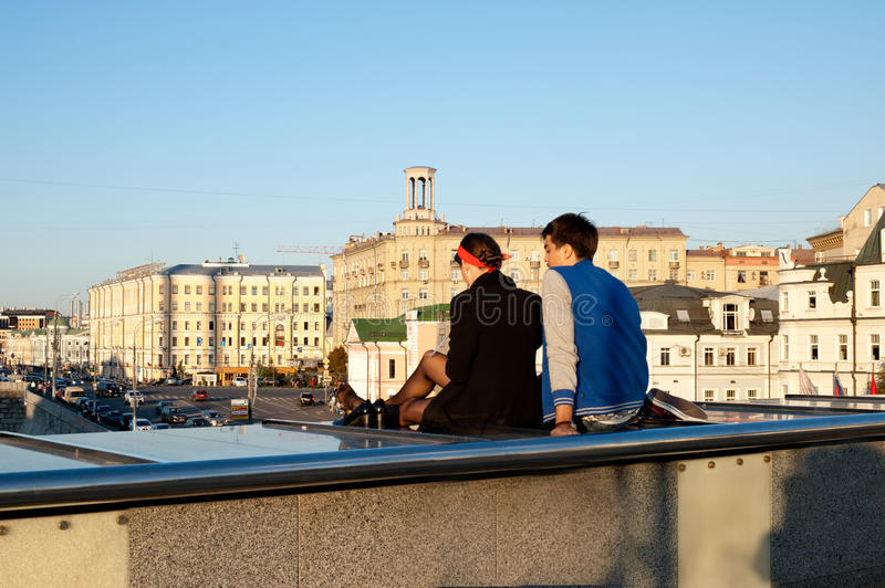 Two young people looking on moscow view stock photography