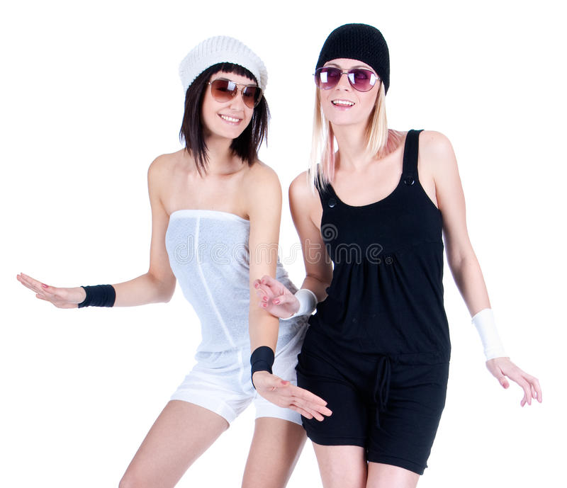 Two young pretty Women posing with sunglasses