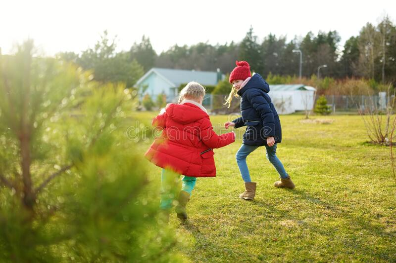 Two young sisters having fun together on beautiful spring day. Active family leisure with kids. Family fun outdoors stock photos