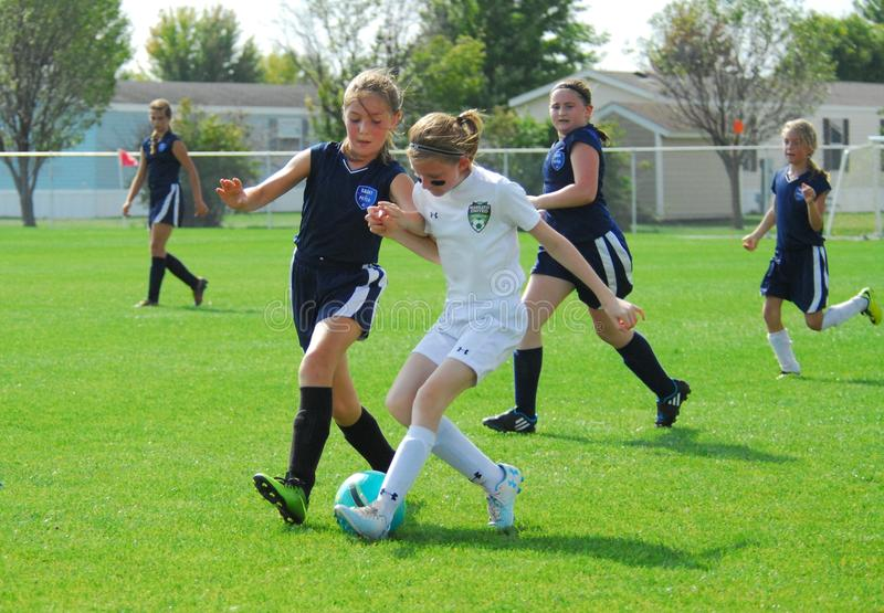 Two young soccer players compete for control of the ball. stock images