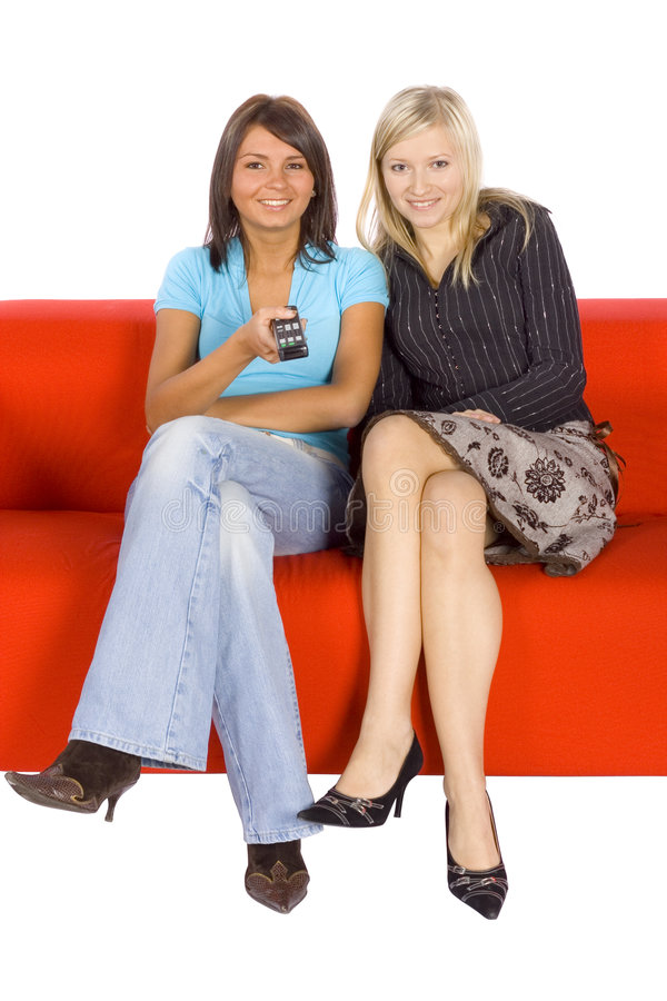 Download Two Young Woman With Remote Stock Image - Image: 1705601
