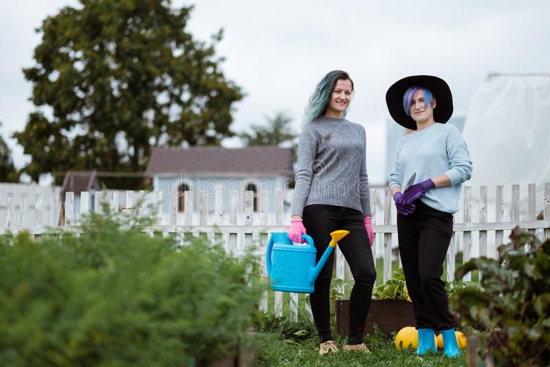 Two young women in the background of a garden with gloves and tools with a field of beds royalty free stock photo