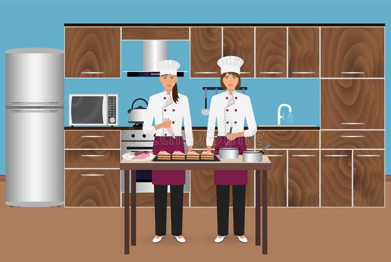 Two young women confectioners cooking desserts with pastry bag. Pastry-cook master class to make cakes. stock illustration