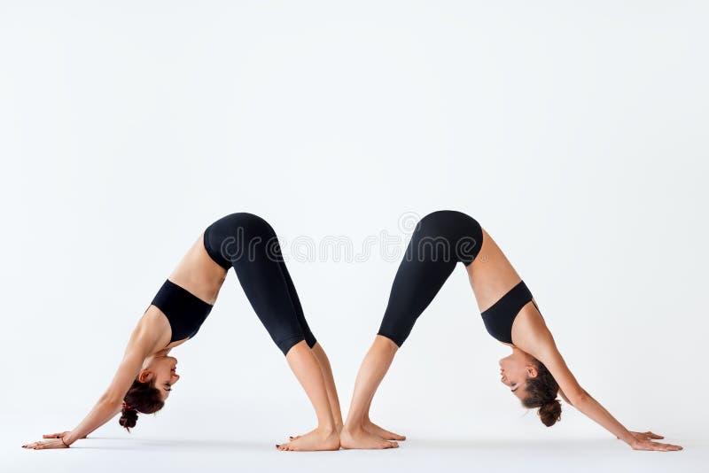 Two young women doing yoga asana Downward Facing Dog stock photos