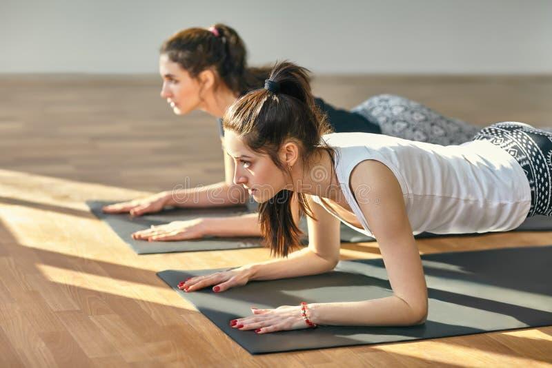 Two young women doing yoga asana Low Plank Pose. Ardha Phalakasana stock image
