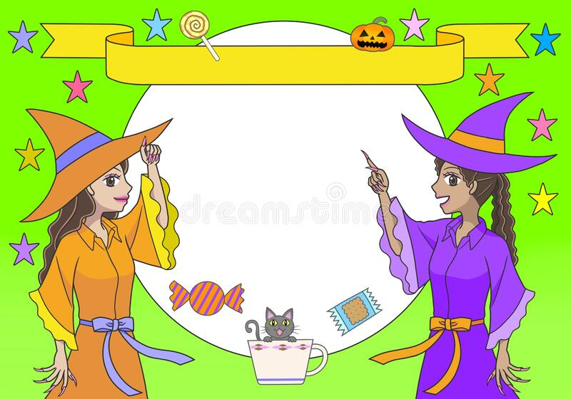 Best witches. Two colorful and ugly witches waving and smiling as they send  their regards or best wishes.