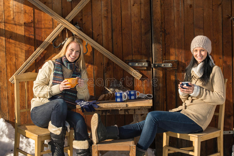 Two young women enjoy tea winter cottage royalty free stock images