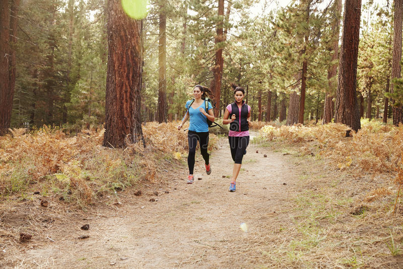 Two young women running in a forest stock photo