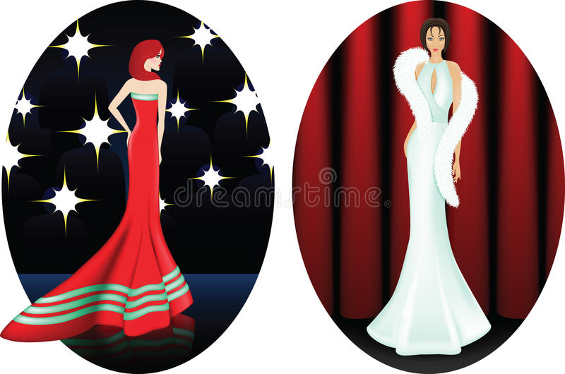 Two young women on stage. royalty free stock photo