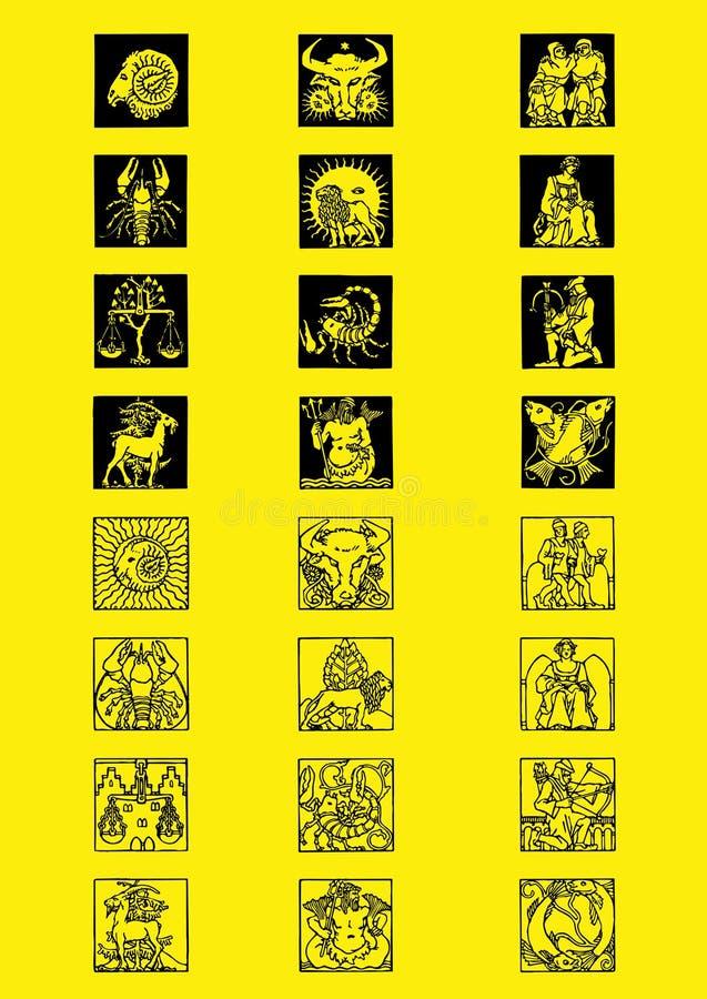 Two zodiac set stock images