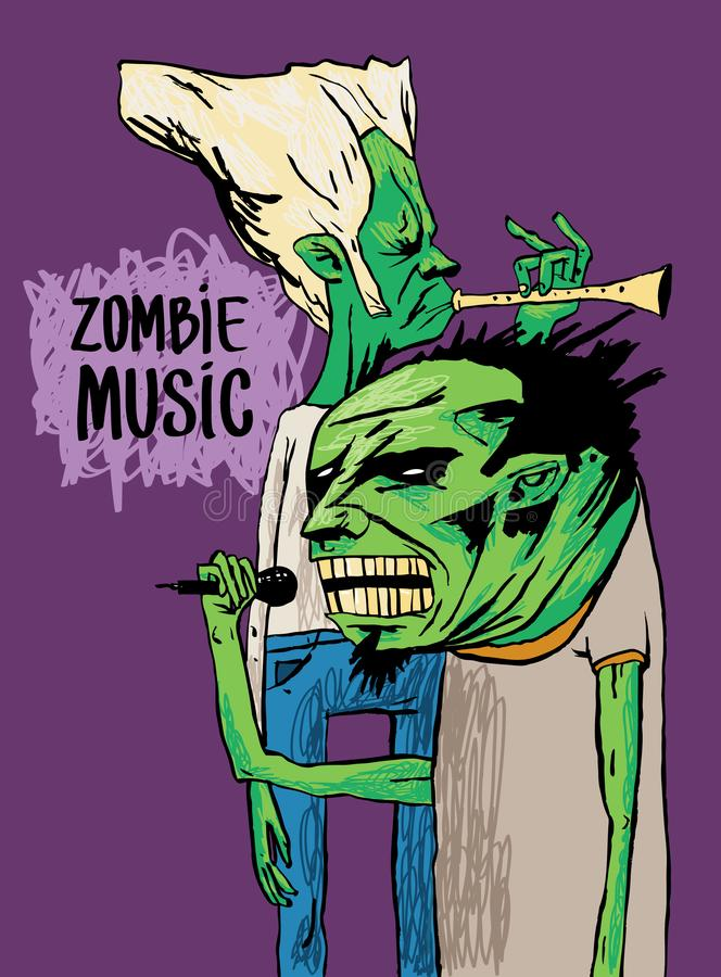 Two zombie musicians play on the trumpet and sing. A beautiful poster or drawing on a T-shirt. Zombie music. Two zombie musicians play on the trumpet and sing royalty free illustration