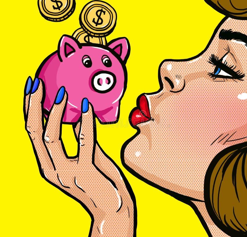 TWoman kyssa en spargris i stil för popkonst Affisch för tappningpopkonst bakgrund isolerade pengar över den vita kvinnan royaltyfri illustrationer