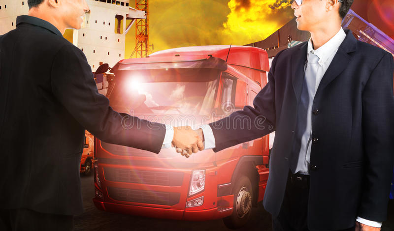 Twon business man shake hand with successful joint venture busin stock photos