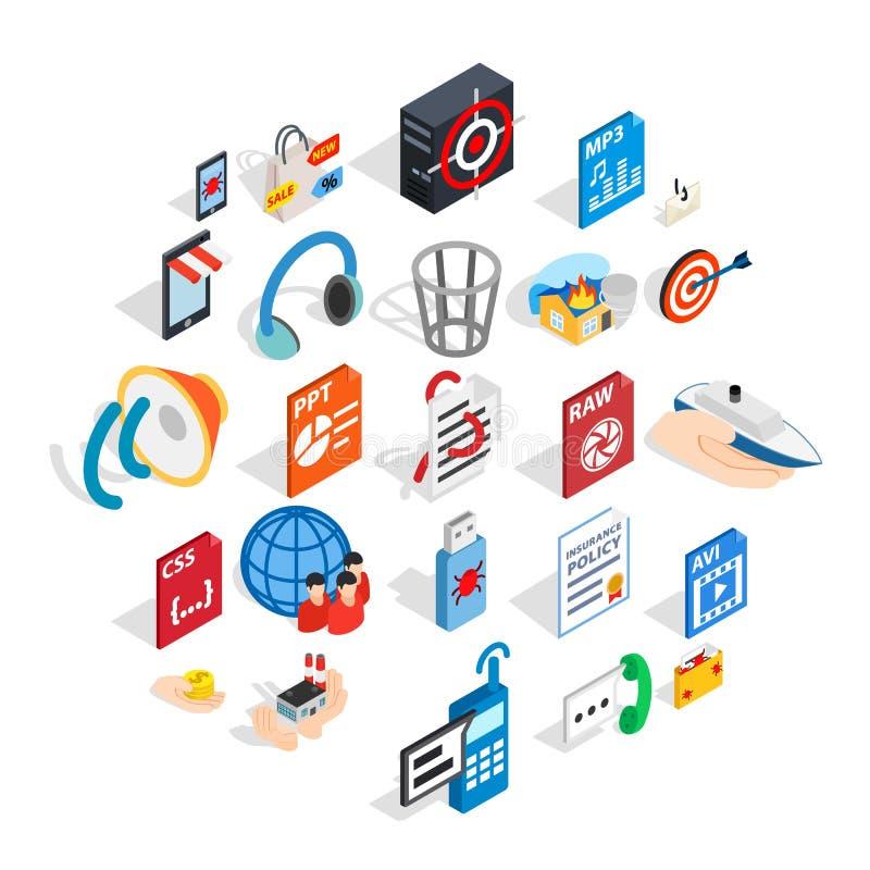 Tworzący reklamowe ikony ustawiać, isometric styl royalty ilustracja
