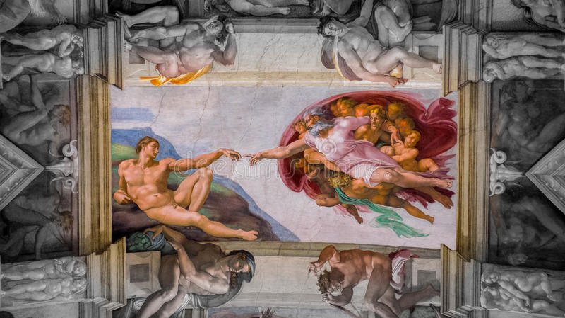 Tworzenie Adam praca na suficie w Sistine kaplica w Watykan, Watykan zdjęcie royalty free
